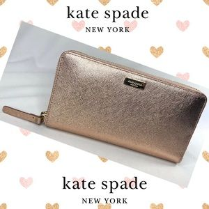 Kate Spade Rose Gold Metallic Zip Wallet, NWT
